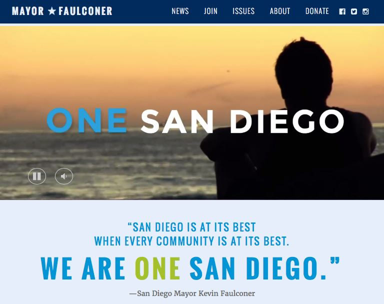 Kevin Faulconer website screenshot